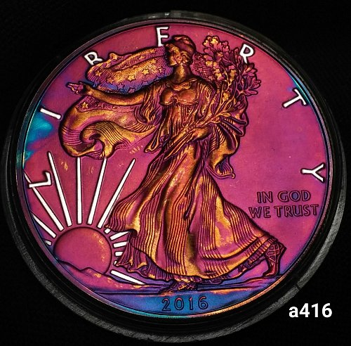 2016 Rainbow Toned Silver American Eagle 1 troy ounce silver Monster toned #a416