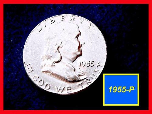 1955-P  Franklin Half Dollar –  Brilliant Uncirculated Coin  •• (#1647)