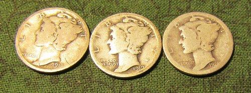 1918-s; 1919; 1928-S Mercury SILVER Dimes   #56