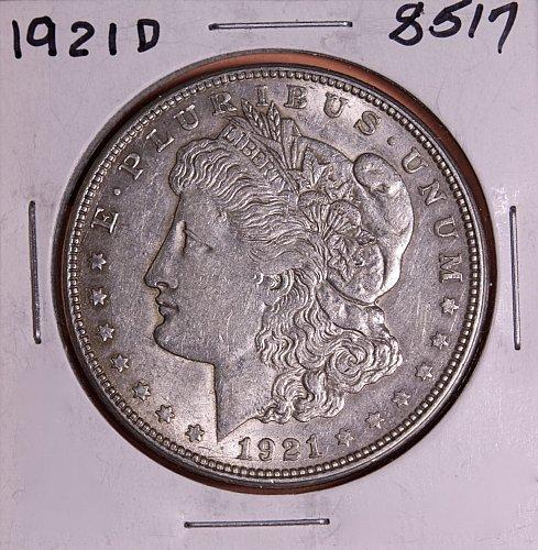 1921 D MORGAN SILVER DOLLAR 8517  F12