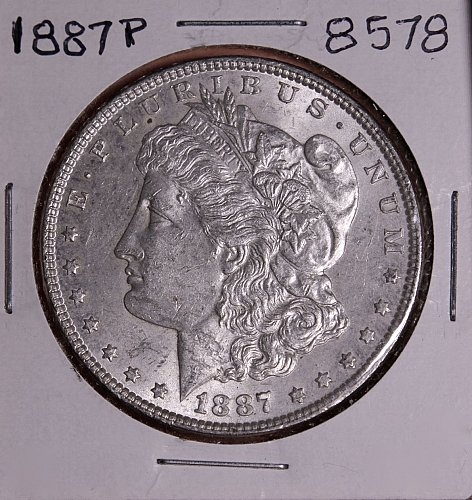 1887 P MORGAN SILVER DOLLAR 8578  AU
