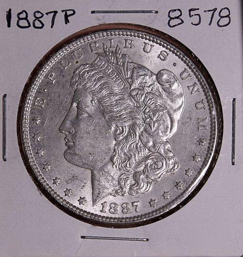 1887 P MORGAN SILVER DOLLAR 8578  AU