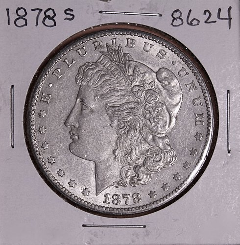 1878 S MORGAN SILVER DOLLAR 8624 AU50