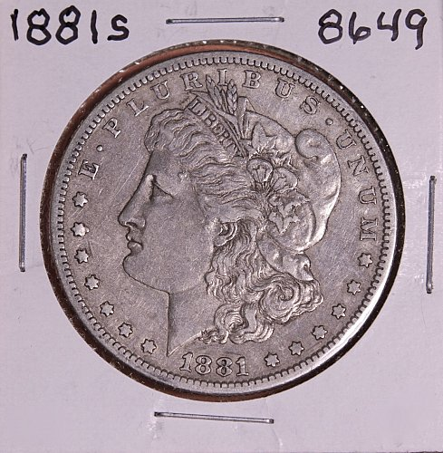 1881 S MORGAN SILVER DOLLAR 8649 VF
