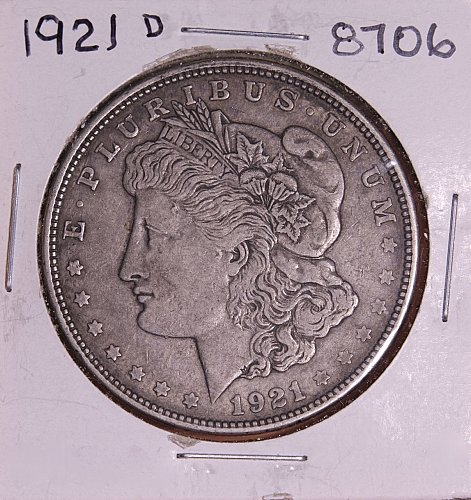 1921 D MORGAN SILVER DOLLAR 8706 F15