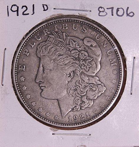 1921 D MORGAN SILVER DOLLAR 8706 F15
