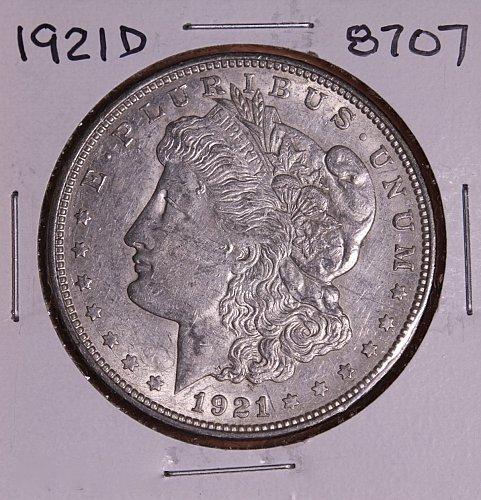 1921 D MORGAN SILVER DOLLAR 8707 EF
