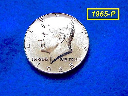 """1965   Kennedy Half Dollar •• """"BU"""" (MS64) •• (40% Silver)  (#1609b)"""