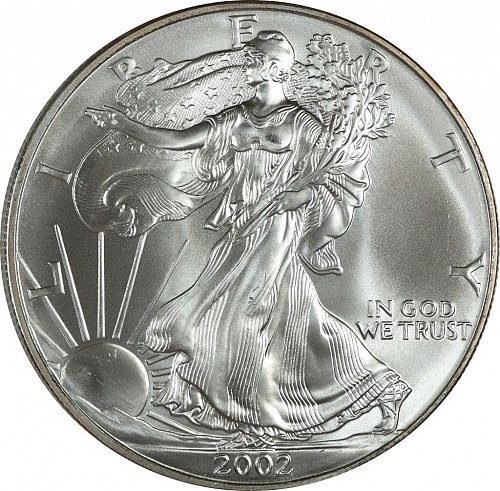 2002 Silver American Eagle, (Item 425)