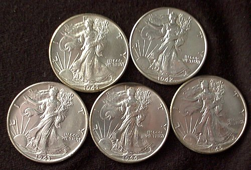 1941-1945 P Walking Liberty Half Dollar Group UNC