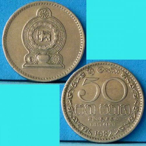 Ceylon Sri Lanka 50 Cents 1982 km 135.2