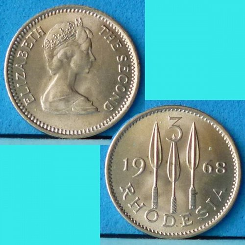 Rhodesia 3 d Pence / 2.5 Cents 1968 Km 8