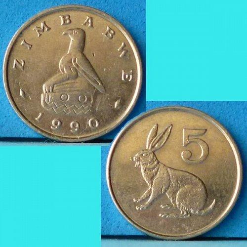Zimbabwe 5 Cents 1990 km 2 Rabbit