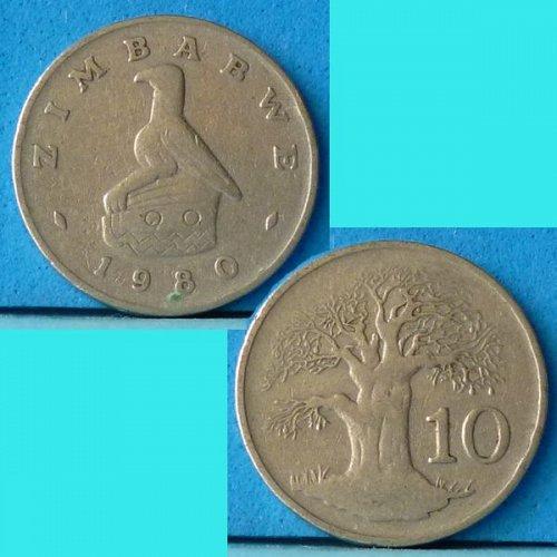 Zimbabwe 10 Cents 1980 km 3 Tree