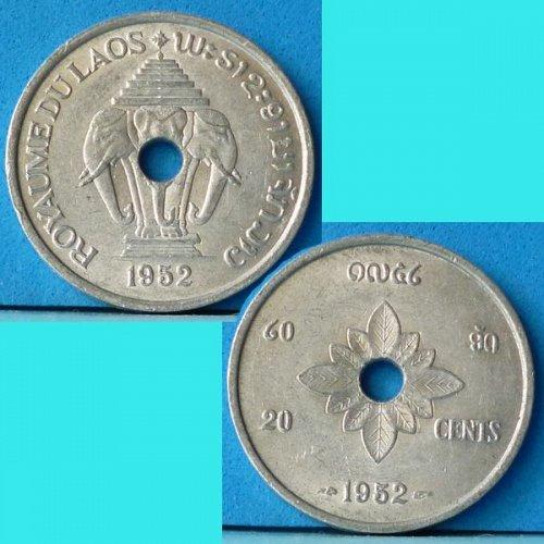 Laos 20 Cents 1952 km 5