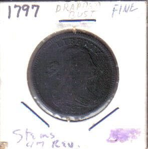 1797 P Draped Bust Large Cents: 1797 Reverse With Stems