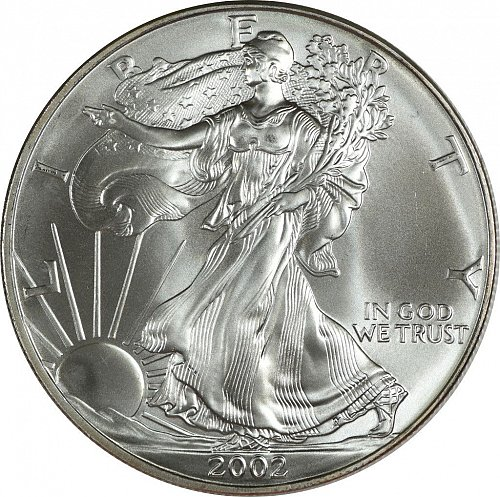 2002 Silver American Eagle, (Item 427)