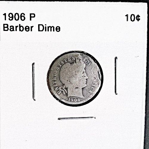 1906 P Barber Dime