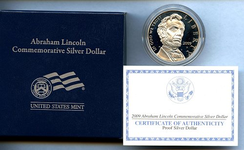 2009-P Abraham Lincoln Proof Commemorative Silver Dollar - OGP - Toned and Clean