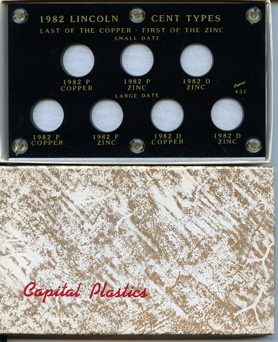 "Capital Plastic 3.5"" x 6"" ""1982 Lincoln Cent Types"" 7-Variety Holder - Black"