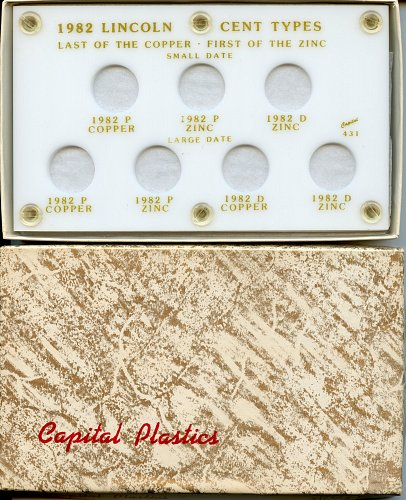 "Capital Plastic 3.5"" x 6"" ""1982 Lincoln Cent Types"" 7-Variety Holder - White"