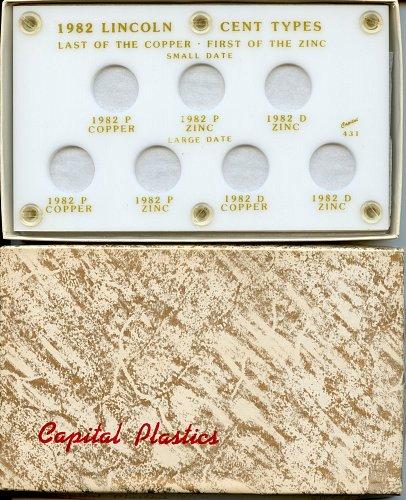 "Capital Plastic 3.5"" x 6"" ""1982 Lincoln Cent Types"" 7-Variety Holder - White"