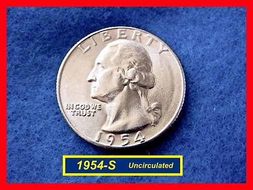1954-S Washington SILVER Quarter  UNCIRCULATED   (#2506ab)