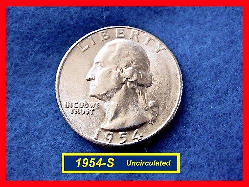 1954-S Washington SILVER Quarter  UNCIRCULATED   (#2506ab)