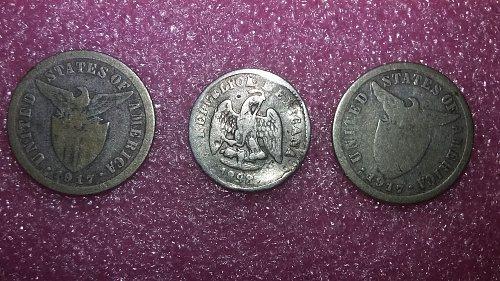 3 Silver coin lot 1898 5 centavos 2 -1917 ten centavos