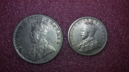 2 silver coin lot 1917 British half Rupee 1917 one Rupee