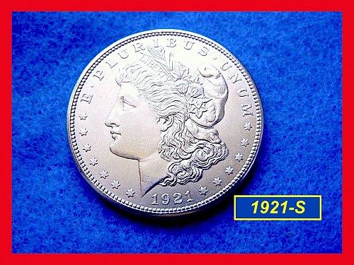 "1921-S MORGAN Dollar  •••  ""MS-60/61"" Uncirculated • • (#5296)"