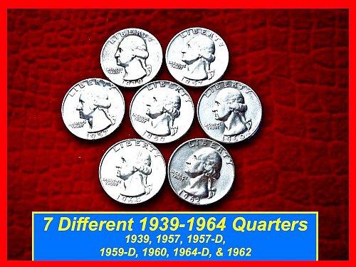 SEVEN Coin Lot Silver Quarters  1939, 57, 57-D, 59-D, 60, 62, & 1964-D (#2179)
