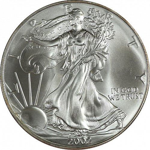2002 Silver American Eagle, (Item 428)