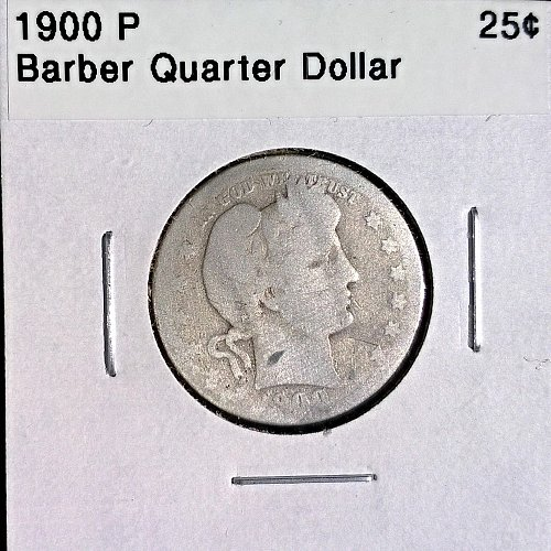 1900 P Barber Quarter Dollar