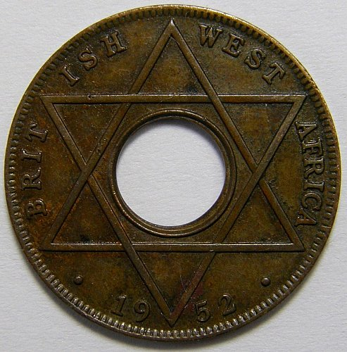 1952 British West Africa#2 1/10 Penny 1 Year Type Copper