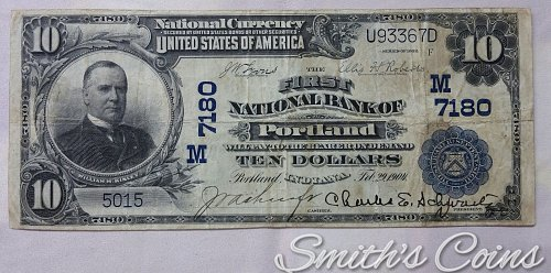 $10 1902 National Currency ~ The First National Bank of Portland IN