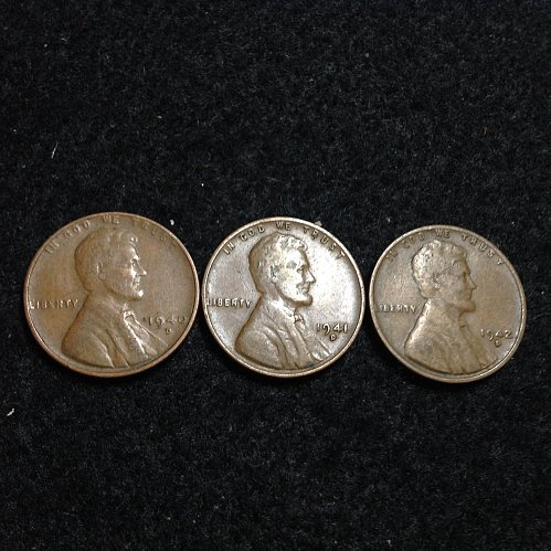 1940-41-42 D Lincoln wheat cents