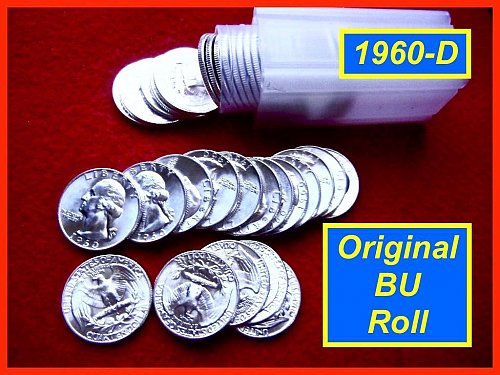 1960-D Original Roll of Fantastic Gem BU Quarters  (#2251)
