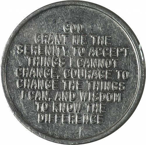Serenity Prayer Coin, One Day at a Time, Aluminum, (Item 421)