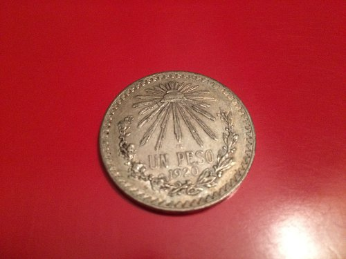 1920 one peso silver coin Mexican nice detail