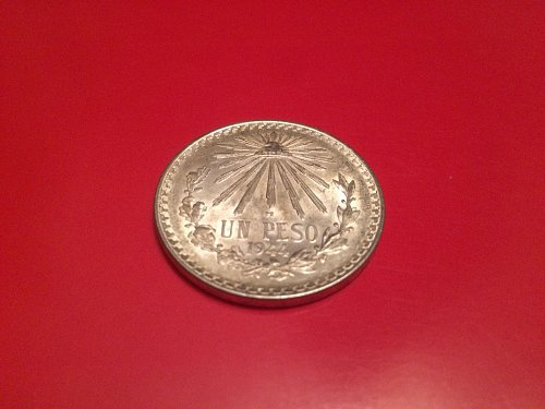 1944 one peso silver coin Mexican nice detail