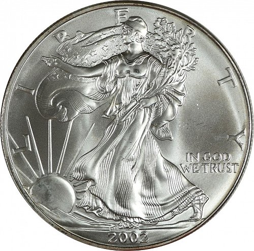 2002 Silver American Eagle, (Item 429)
