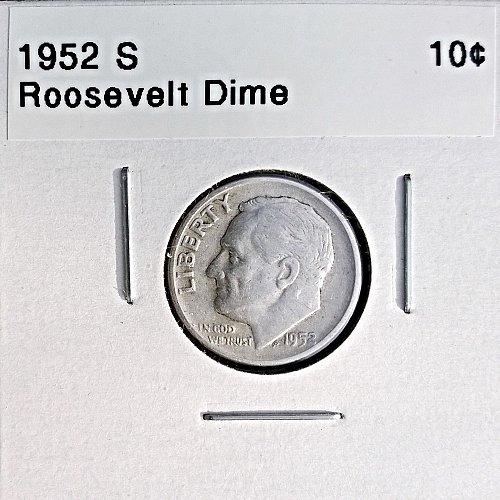 1952 S Roosevelt Dime