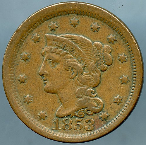1853 Braided Hair Liberty Head Large Cent Very Fine