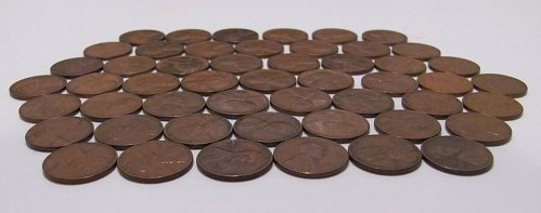 FIVE ROLLS OF LINCOLN WHEAT PENNIES - 250 PCS