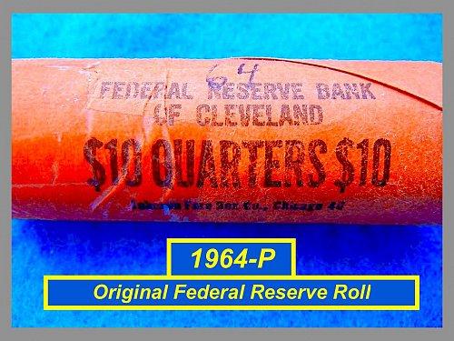 1964 Original Bank Roll SILVER Quarters   (#2530)