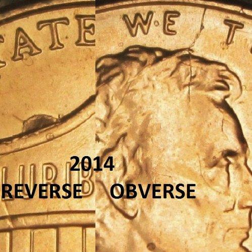 2014 P Lincoln Cent Obverse-/-Reverse Die Break