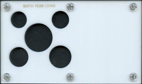 "Capital Plastics ""Birth Year Coins"" 5-Coin Holder, White"