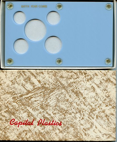 "Capital Plastics ""Birth Year Coins"" 5-Coin Holder, Baby Blue"