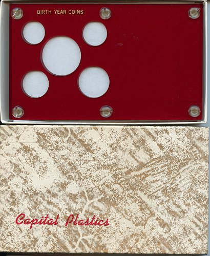 """Capital Plastics """"Birth Year Coins"""" 5-Coin Holder, Red"""